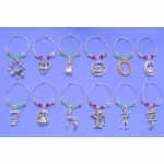 12 Days Of Christmas Crystal Wine Glass Charms & Napkin Rings