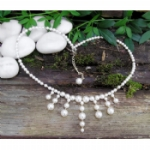 Mila Sterling Silver Crystal Pearl Drop Necklace