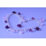 Rose Quartz & Amethyst Heart Ankle Chain