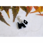Black Enamel & Rhinestone Scottie Dog Charms