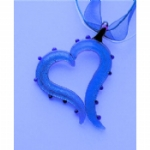 Blue 2 Sided Open Heart Necklace