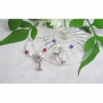 Bride & Groom Engraved Goblet Wine Glass Charms & Napkin Rings