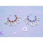 Bride & Groom Letters Wine Glass Charms