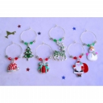 Deluxe Enamel Christmas Wine Glass Charms & Napkin Rings