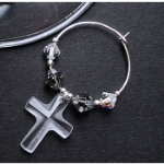 Crystal Cross Wine Glass Charms & Napkin Rings
