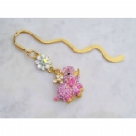 Pink Crystal Elephant Bookmark