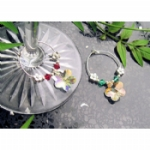 Crystal Flower Wine Glass Charms & Napkin Rings