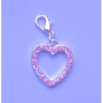 Large Pink Crystal Heart Pet Collar Charm