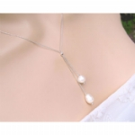 Delta Crystal Pearl Lariat Necklace
