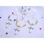 Enamel & Rhinestone Cross Wine Glass Charms & Napkin Rings