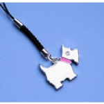 Enamel & Rhinestone Dog Mobile /MP3 Player Charm