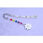 Enamel & Rhinestone Flower Bookmark