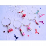 Enamel Girlie Mix Wine Glass Charms & Napkin Rings