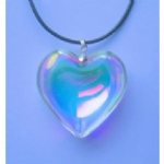 Iridescent Glass  Heart Necklace