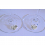 Bride & Groom Silver Heart Wine Glass Charms