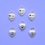 Love My Cat Paw Heart Charms
