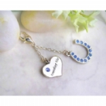 Crystal Horseshoe & Heart Something Blue Charm