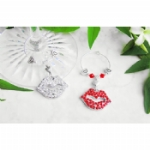 Rhinestone Kiss Wine Glass Charms & Napkin Rings