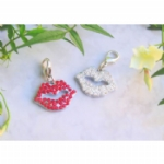 Red Rhinestone Lips Pet Collar Charm