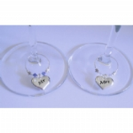 Mr & Mrs Silver Heart Wine Glass Charms
