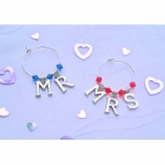 Mr & Mrs Letters Wine Glass Charms