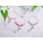 Rhinestone Music Note Wine Glass Charms & Napkin Rings