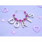 Guest Name Silver Letters Wine Glass Charms
