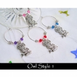 Owl Wine Glass Charms & Napkin Rings