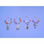 Personalised Pastel Alphabet Wine Glass Charms & Napkin Rings