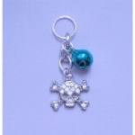 Crystal Skull & Crossbones Pet Collar Charm