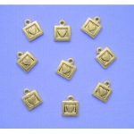 Golden Square Heart Charms