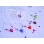 Crystal Heart Wine Glass Charms & Napkin Rings